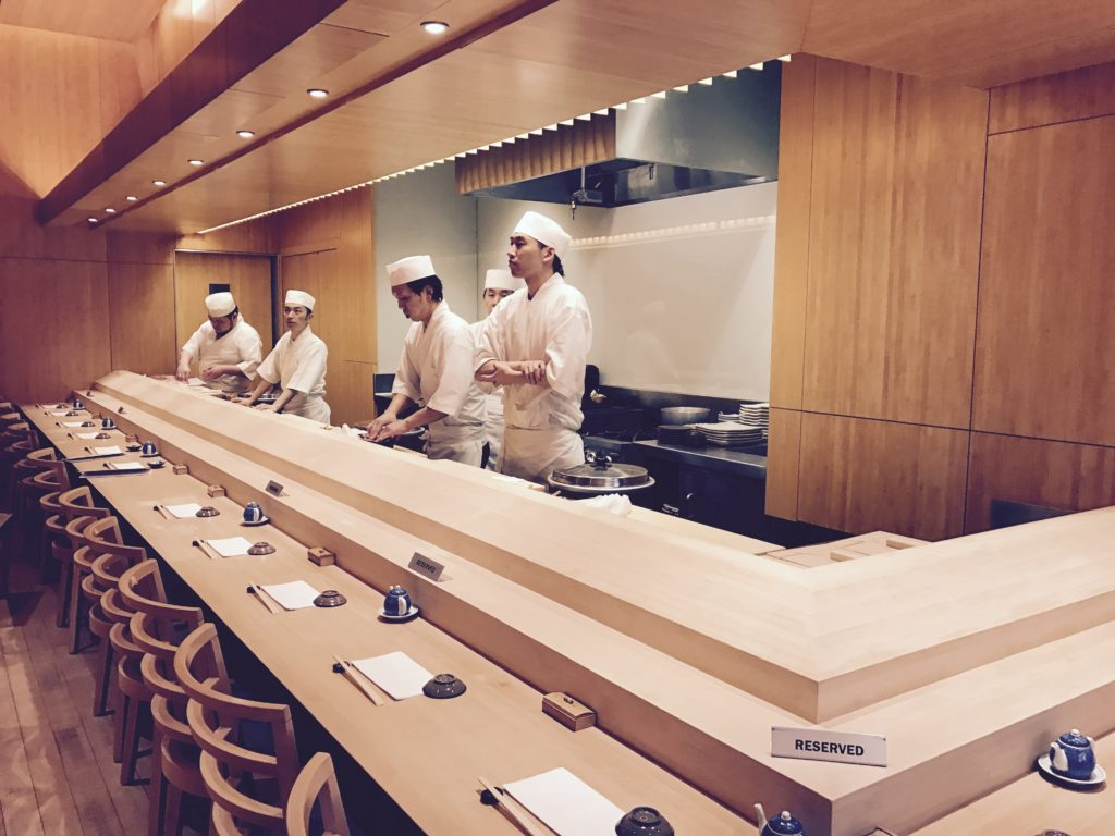The floor, the walls, the tables, the chairs, and the sushi counter are all made of light golden bamboo wood, which create a very elegant and relaxing ...